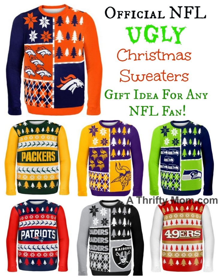 NFL Officially Licensed UGLY Christmas Sweaters Great Gift Idea for Any NFL Fan! 67 Different Sweaters to Choose From! #GiftIdeaForHimOrHer #GiftForNFLFans