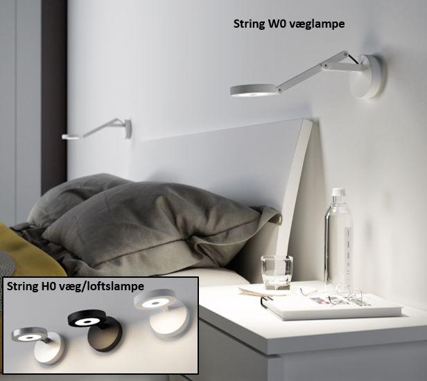 """#String 9W # LED #væglampe og #loftslampe fra italienske """"Rotaliana. Lampen har indbygget dæmper og fås i 3 forskellige #farver."""