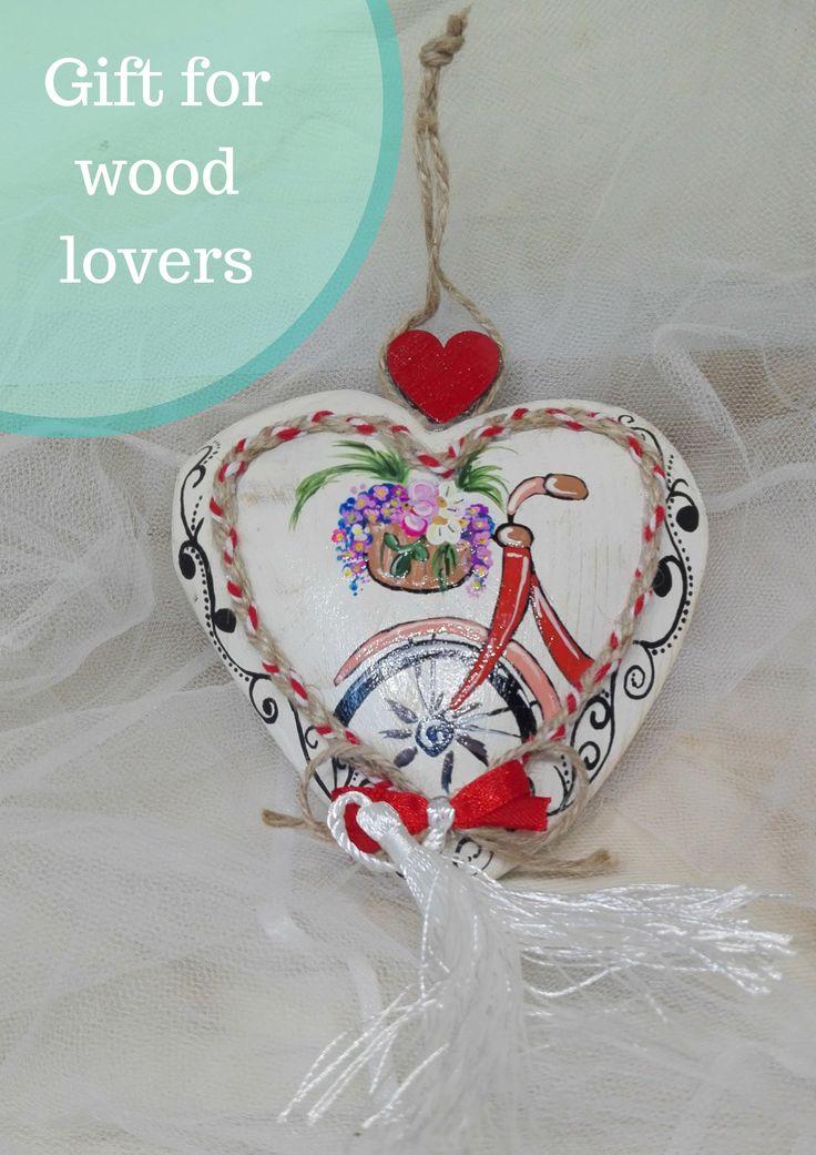 DIY Woodworking Ideas Wooden Painted Heart Bike Ornamental Wood Bike Wood Sign Home Decor Wall Art Rec...
