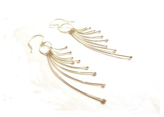 Feather Dangle Earrings Sterling Silver Long by BlueMargaritaMetal