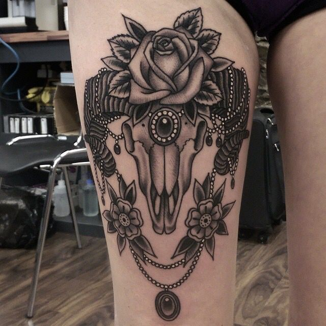 Ram Skull tattoo done by Paul Aherne at Love Hate Social Club in Cork, Ireland