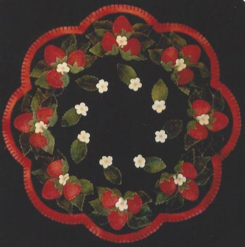 Strawberry Patch Felted Wool Applique Penny Rug Candle Mat