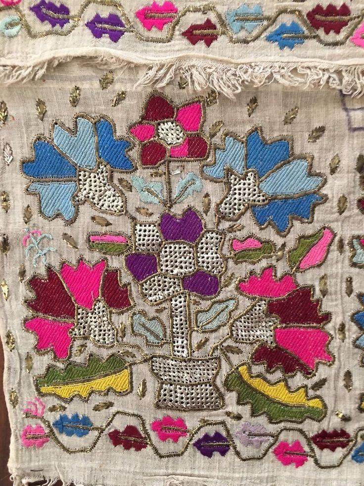 Antique Ottoman-Turkish Silk & Gold Metallic Hand Embroidery On Linen N4 4