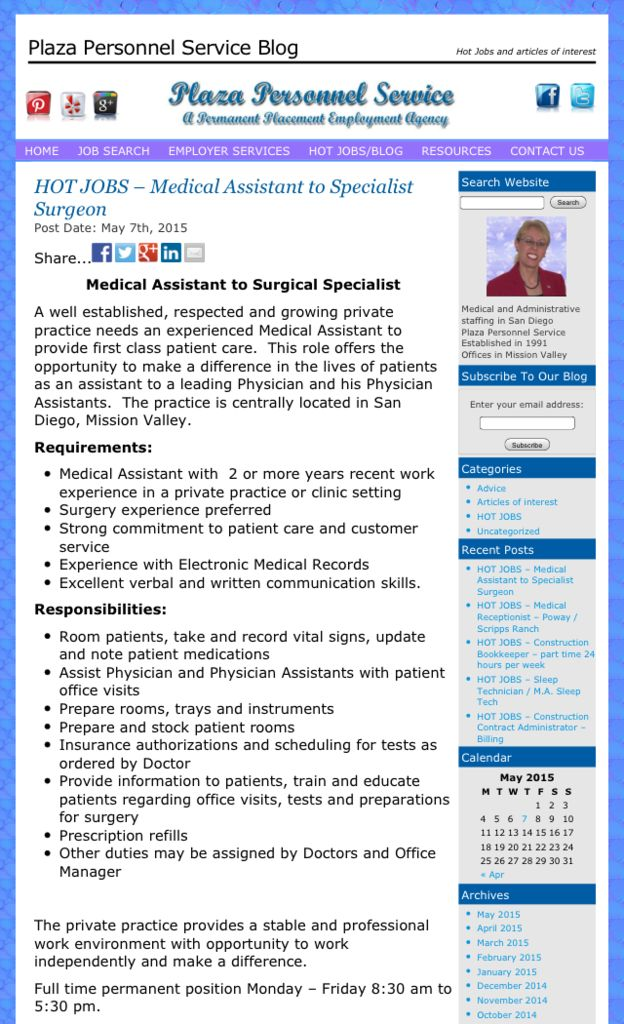 Hiring A Medical Assistant Full Time Permanent With San Diego CA Specialty Surgeon