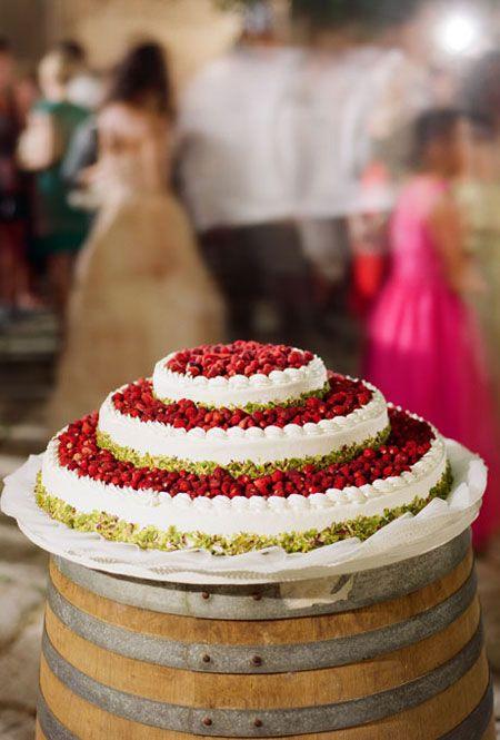 Gorgeous Italian wedding. strawberry and pistachio angel wedding cake
