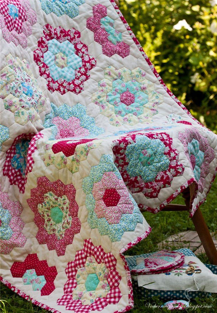Grandmothers Flower Garden Quilt Hexs Crochet Knit And Quilt Pin