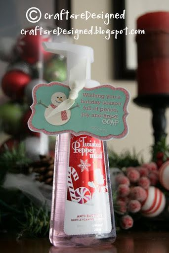 """Cute inexpensive gift idea. Tag says """"Wishing you a holiday season full of peace, love, and hope (cross out hope and change to soap)"""""""