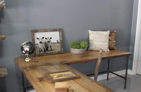 Wooden L Shaped Desk Wood Desk Pipe Desk Reclaimed by DendroCo