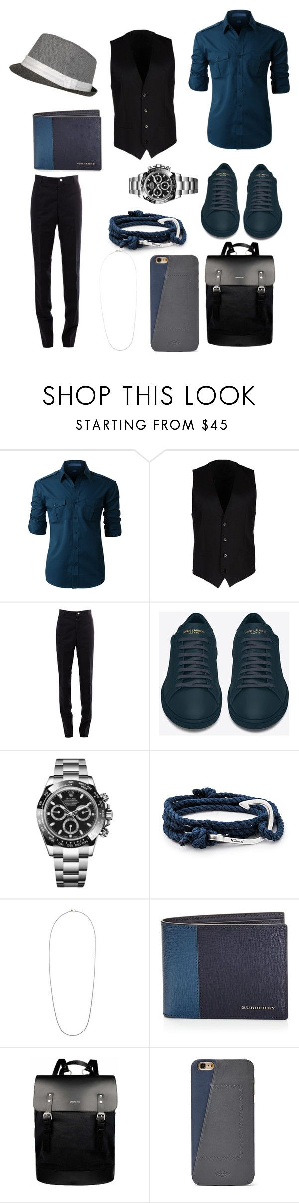 """""""Tyler #3"""" by quiet-galaxies ❤ liked on Polyvore featuring LE3NO, Dolce&Gabbana, Thom Browne, Yves Saint Laurent, Rolex, MIANSAI, Burberry, Sandqvist, FOSSIL and men's fashion"""