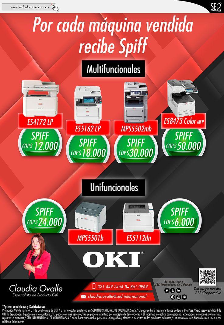 Con OKI Recibe Más: Contacta a tu gerente de producto para más información: Claudia Ovalle Celular: 321 449 7464 Email: claudia.ovalle@sed.international #SEDINTERNATIONAL #SEDCOLOMBIA #OKI