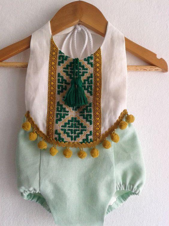Mint Green Baby Girl Romper / Linen Boho Chic by VivaBohoStyle: #leinen …  – Baby/Kids
