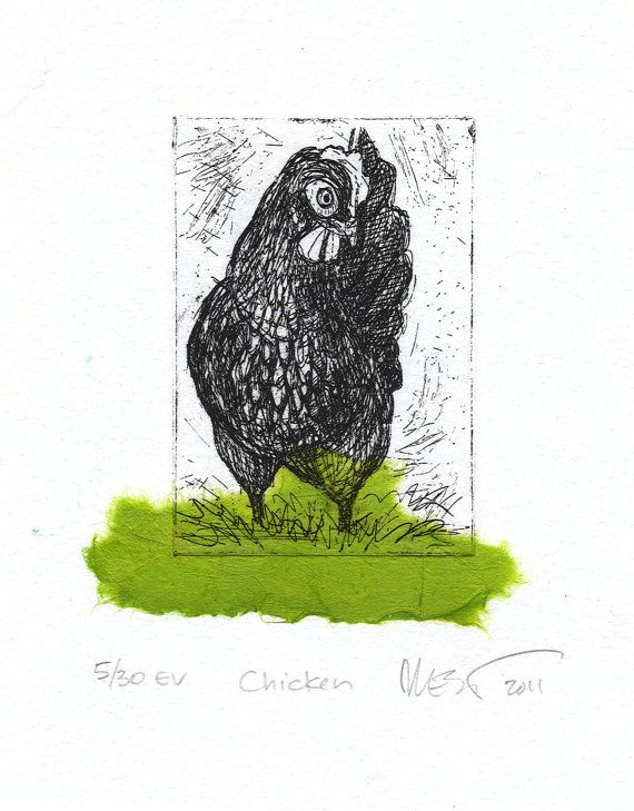 Chicken  Etching with Green Chine Colle by mswest on Etsy