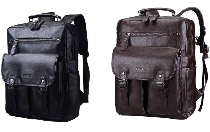 Feger Men Vintage Quality Backpack Hiking Bag High Quality Travel Backpacks Bag Faux Leather