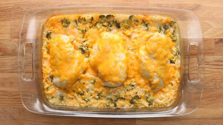 Cheesy Chicken Broccoli BakeServing: 3-4INGREDIENTS1 cup long grain rice¼ teaspoon black pepper½ teaspoon onion powder1 can cream of chicken1 cup cheddar cheese, shredded2 cups broccoli, diced1 ½ cups chicken brothExtra cheddar cheese for toppingPREPARATIONHeat oven to 375°F/190°C.In a casserole dish, combine rice, pepper, oni