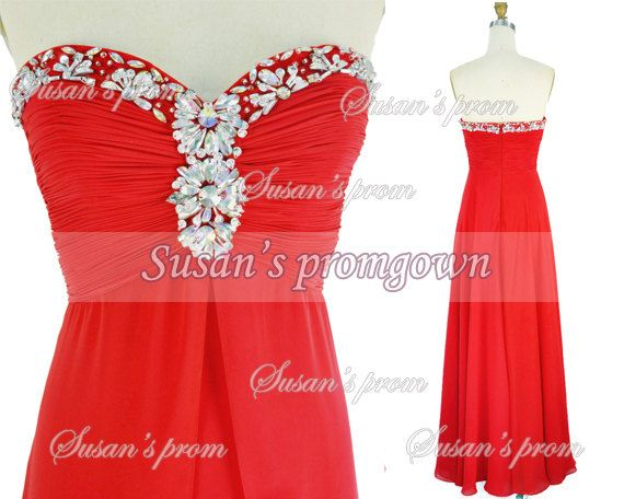 2014 Prom With Draped Beads Red Chiffon Dresses Prom by promgown, $129.00