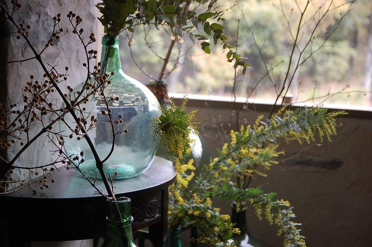 アンティーク ワインボトル 瓶 ガーデニング おしゃれな雑貨 ガラス 花瓶 フラワーベース フランス フレンチ インテリア グリーン antique glass bottle wine vin france french interior green garden flower interior