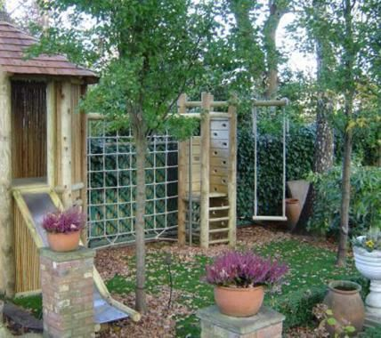 Climbing frame for small gardens - log cabin                                                                                                                                                                                 More