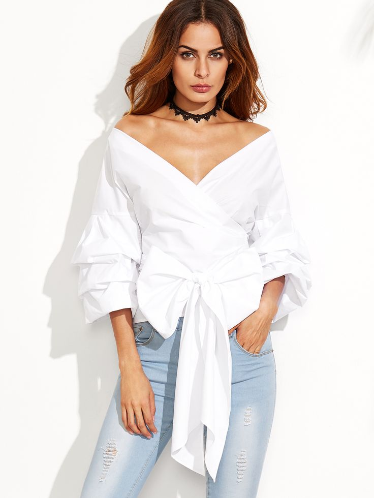 Online shopping for White Layered Sleeve Bow Tie Off The Shoulder Surplice Top from a great selection of women's fashion clothing & more at MakeMeChic.COM.