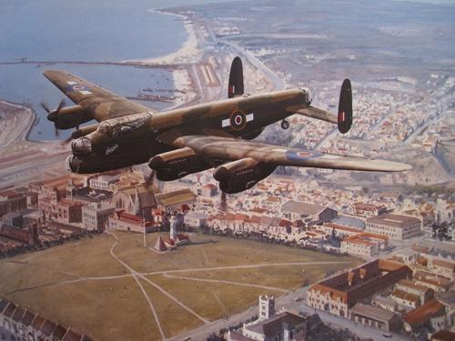 """91 Avro Lancaster """"'Aires"""" over the Donkin Reserve, Port Elizabeth, Sunday, April 8, 1945    600 x 755 mm.    Signed 83 L/L"""