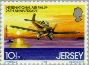 Sello: Airplanes (Jersey) (International Air Rally, 25th Anniversary) Mi:JE 200,Sn:JE 210,Yt:JE 194,AFA:JE 194