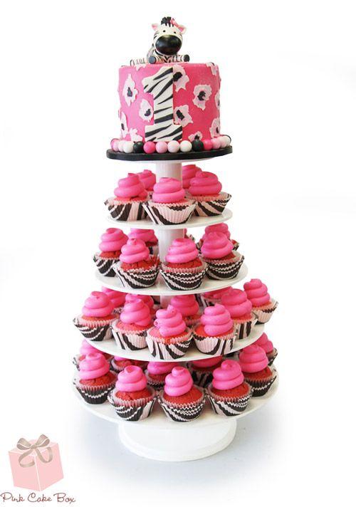 Zebra Print Cupcake Stand | http://blog.pinkcakebox.com/zebra-print-cupcake-stand-2014-05-29.htm