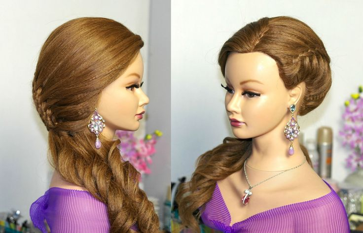 Prom hairstyle for long hair. Braided hairstyles. Прическа на выпускной с плетением.