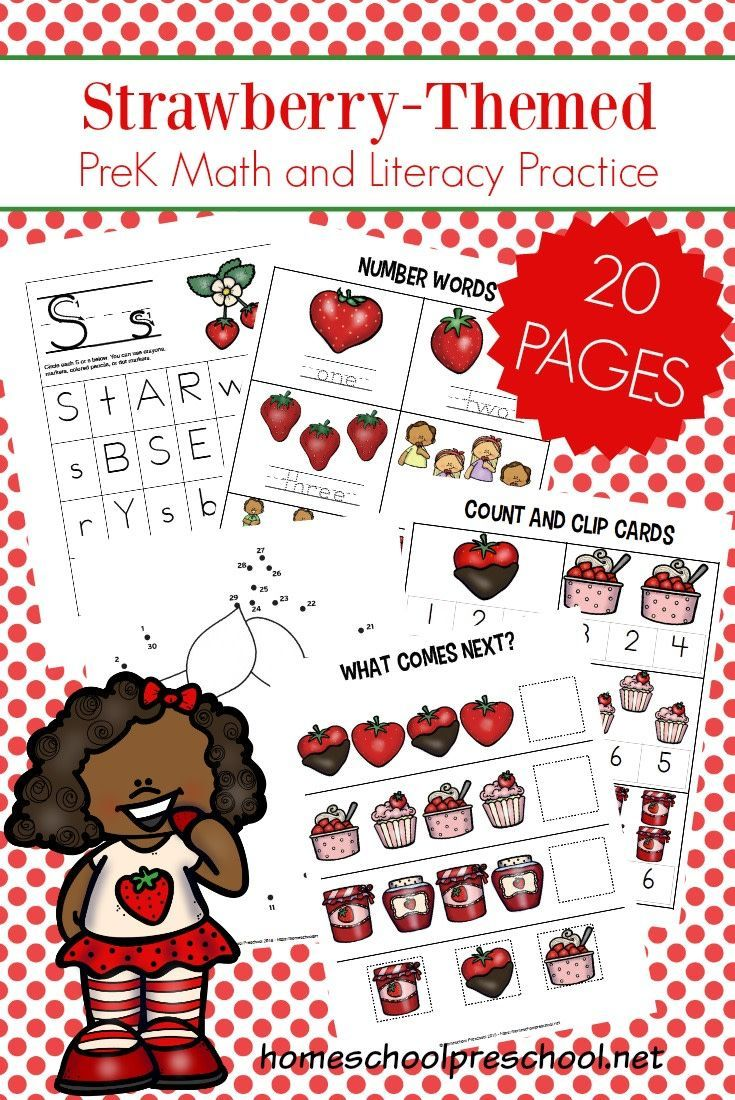 Download these FREE strawberry preschool printables. They will help preschoolers practice shapes, ABCs, counting, and more! #homeschoolprek #homeschooling #preschool #strawberry #strawberries #strawberrytheme #freeprintables   https://homeschoolpreschool.net/strawberry-preschool-printables/