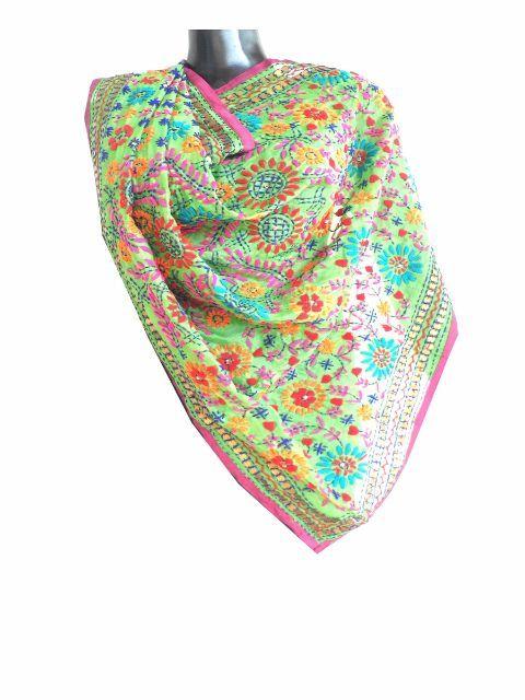 Phulkari Dupatta on Chanderi Fabric -Light Green: GiftPiper.com. Shop here for phulkari dupatta, embroidered dupattas, phulkari sarees, phulkari suits. Also see our gorgeous stoles and dupatta collection at http://giftpiper.com/Stoles-Dupattas-catid-36678-page-1.html. # Phulkari dupatta #dupatta #dupattaonline #online dupattas