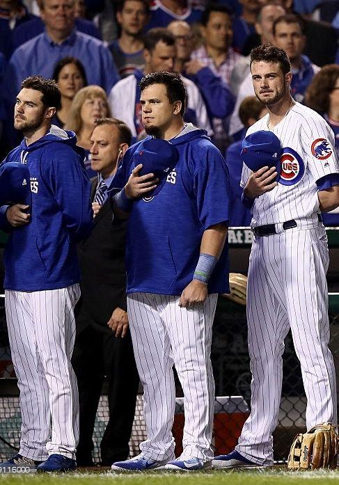 Matt Szczur,Kyle Schwarber,Kris Bryant,CHC, pregame//Oct 29,2016 World Series Game 4 v CLE