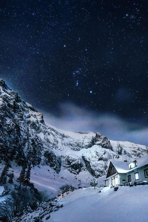 Snow Cabin, Bucegi Mountains, Romania photo via josie