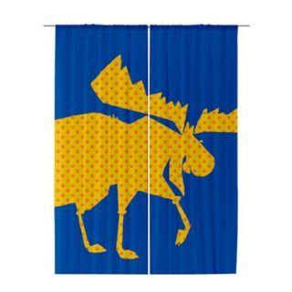 Golden Moose yellow dot sheer curtain by sparkheadkids.com