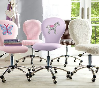 girls desk furniture. round upholstered desk task chairs in pink mini dot girls furniture