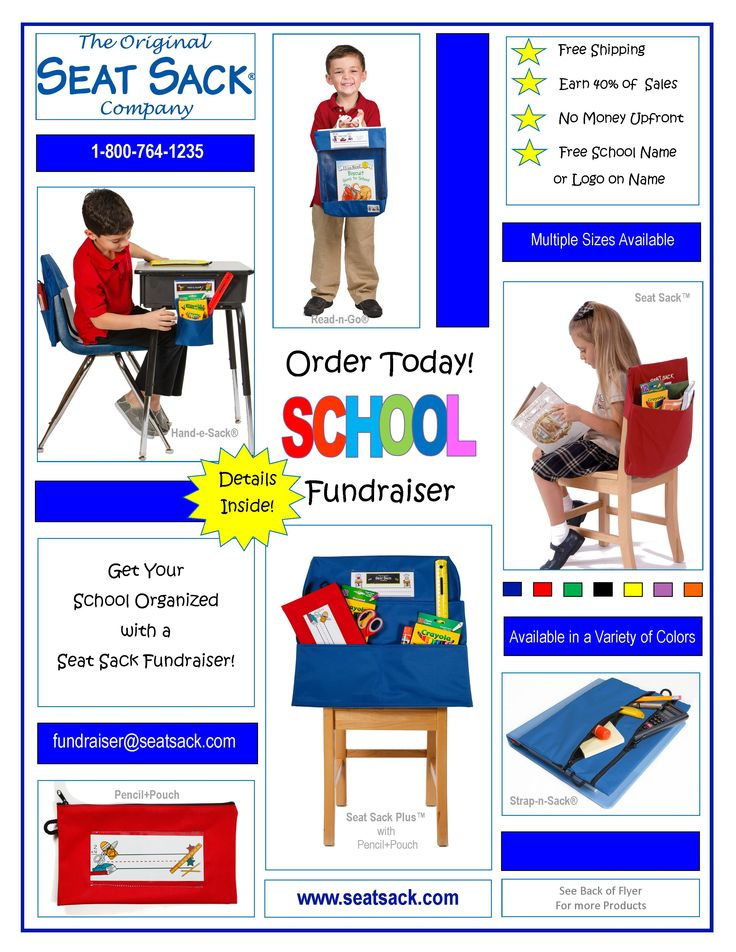 Get Your School Organized with a Seat Sack Fundraiser!  Earn 40% of product sales.  Click Here to find out more http://www.seatsack.com/fundraiser.aspx