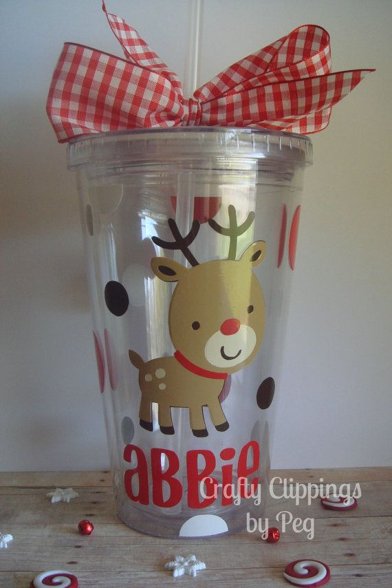 This adorable reindeer double wall tumbler holds 16 oz. of Holiday juice. It is made with long lasting outdoor vinyl and is BPA free!