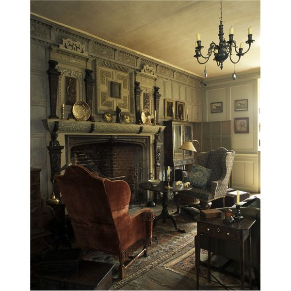 17th century chimney piece in this oak parlor at Restoration House in Kent,England