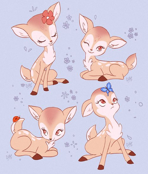 rollingrabbit: Some cute deer based on some figurines I saw at the antique mall.