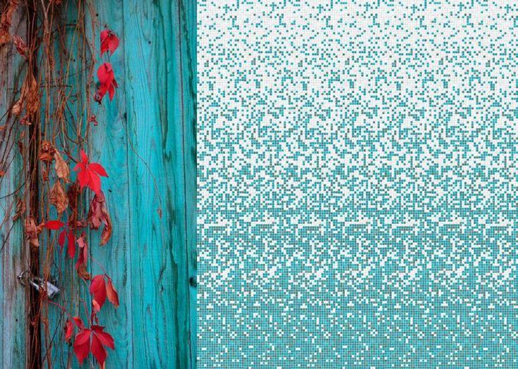 Shade 15x15_Aria #mosaicopiu #glassmosaic #sfumature #mosaicosfumato #emerald