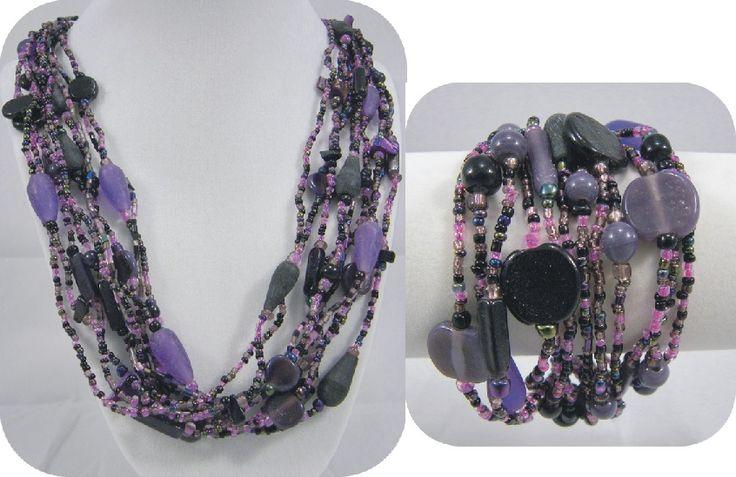 Purple glass beaded necklace & bracelet set.  Bracelet has a beaded button closure.