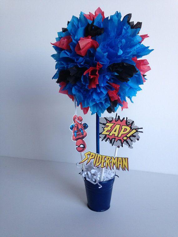 Spiderman Super Hero birthday party decoration by AlishaKayDesigns