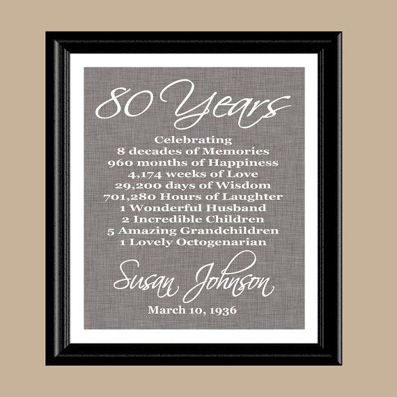 Regalo impresión de 80 º cumpleaños regalo de cumpleaños de