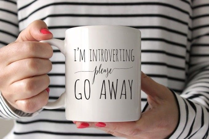 Introverting mug to keep her company. Quietly.