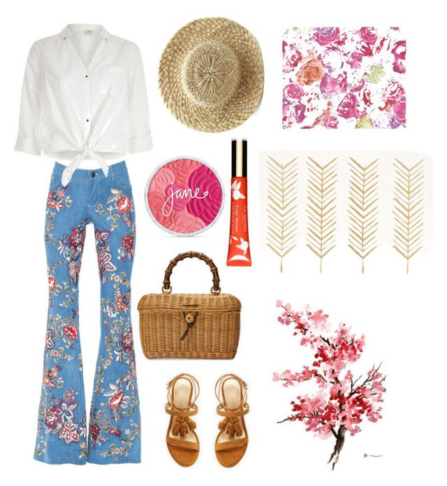 """Embroidered colors"" by penkreitto on Polyvore featuring River Island, Gucci, Stuart Weitzman and Clarins"