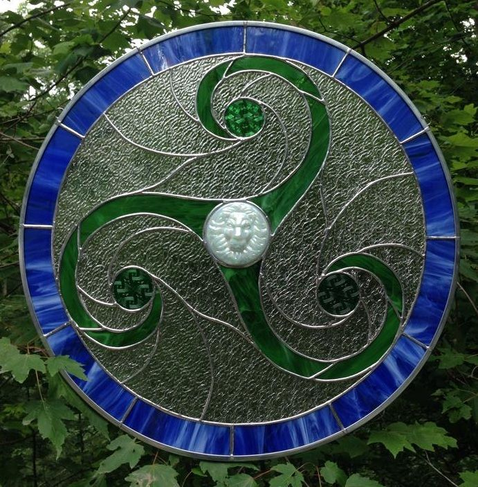 "Custom designed Triskele stained glass panel. 29"" diameter. $1400"