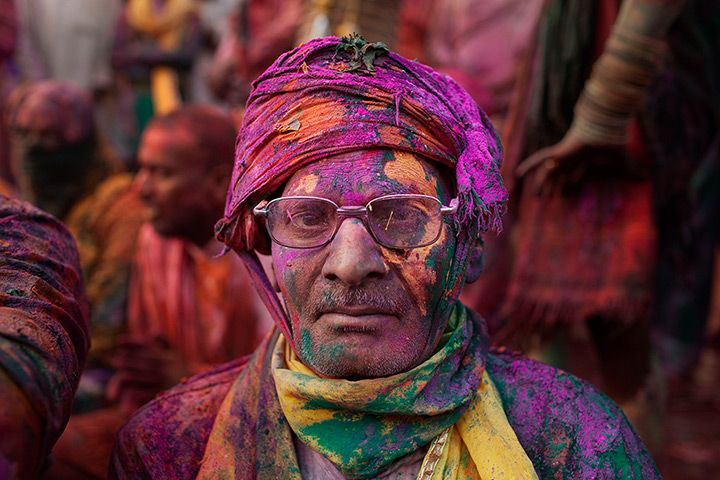 "Great photos on the Guardian website of Holi, festival of colours...    ""It's a ritual of colour enacted for centuries. Men from Nandgaon, Hindu god Krishna's hometown, march on Barsana in Mathura, the birth place of Krishna's beloved Radha, to put colour on women who wait prepared for them with sticks – mini battles break out amid explosions of colour. It's Holi in India"" - Guardian."