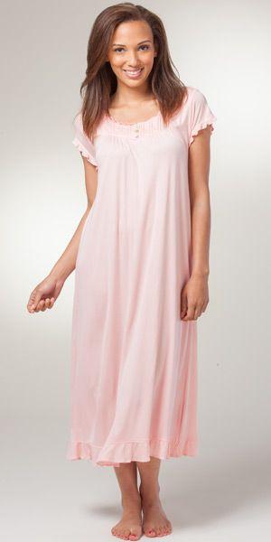 Eileen West Nightgown - Cap Sleeve 100% Modal Knit Long Gown in Sorbet