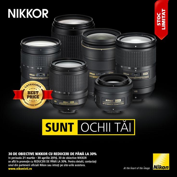 In perioada 21 martie - 30 aprilie 2016, 30 de obiective NIKKOR se afla in promotie cu reduceri de pana la 30%. Pentru detalii contactati unul din partenerii oficiali Nikon sau intrati pe site-urile acestora.