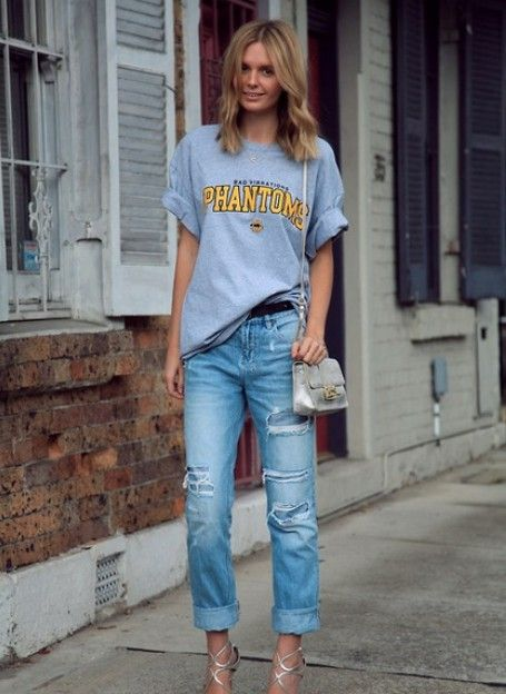 Super Bowl Style - How to Make a Sports Jersey Look Chic - sports t-shirt half-tucked into boyfriend jeans and worn with metallic silver strappy heels