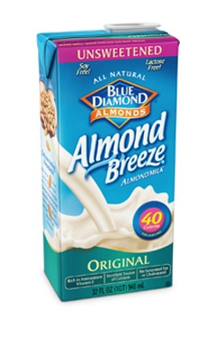Blue Diamond Almond Breeze Almond Milk. 1/29 I stopped drinking this brand, it's good however, it has carrageenan in it