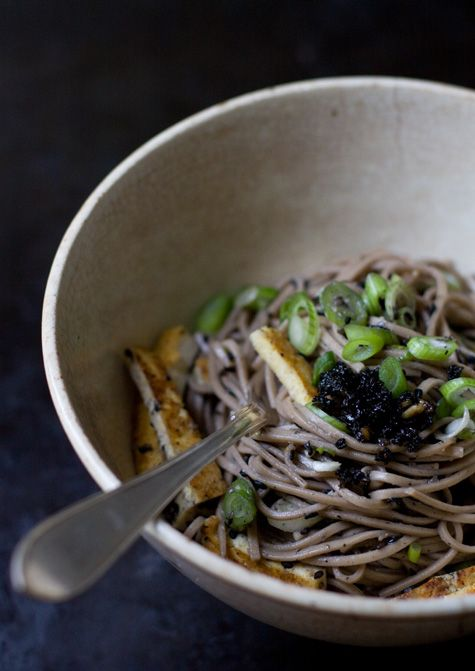 Black Sesame Otsu  	Recipe  - The Black Sesame Otsu recipe from Super Natural Every Day - soba noodles and tofu slathered in a thinned-out, salty-sweet black sesame paste, then topped with lots of sliced green onions.  - from 101Cookbooks.com