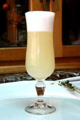 Pisco Sour...(Popular Chilean cocktail. Pisco, lemon juice and sugar, one egg white - Shaken together)